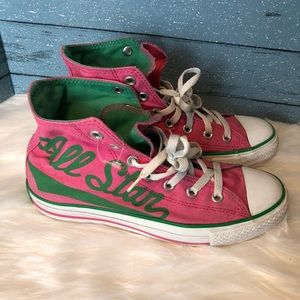 Converse All Star Pink/ green high top sneakers